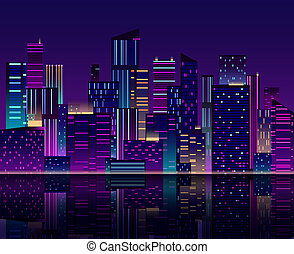 Night city skyline. Skyscraper with neon lights. Urban cityscape with buildings. 80s retro vector background