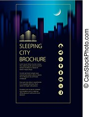 Night city skyline traveling tourist guide book. Brochure,...
