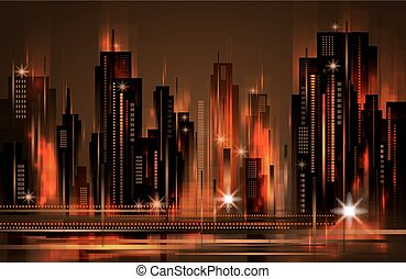Night city skyline , vector illustration
