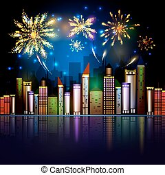 Night City Skyline with Fireworks