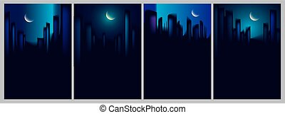 Night city skyscrapers silhouettes skyline vector illustrations set. Perfect minimal backgrounds with copy space for text.