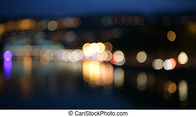 Night city street colorful lights bokeh background. - Shot...