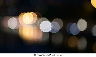 Night city street colorful lights bokeh background. - Shot...