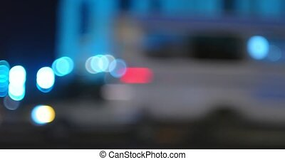 Night city street panoramic video defocused lights