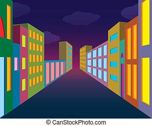 Night city street with neon lightened windows