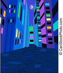 Night city street with bright lights. Moon in the sky. Vector illustration.