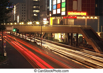 Night city traffic - Colorful aspect of city road during the...