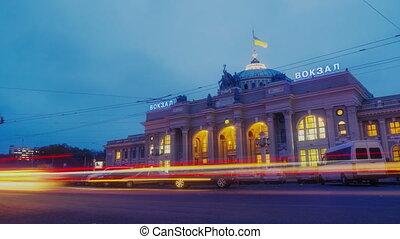 Night city traffic timelapse near Main railway terminal in Odessa, Ukraine.