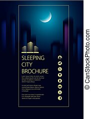 Night city traveling tourist guide book. Brochure, flyer,...