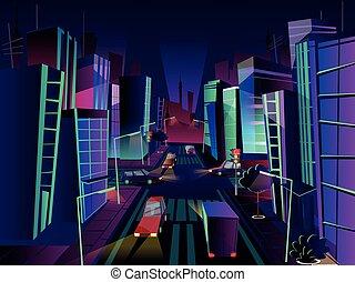 Night city vector cartoon illustration