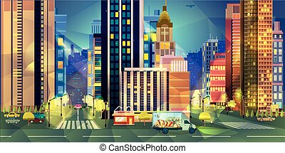 Night city, vector illustration low poly style