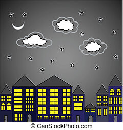 Night City. Vector illustration
