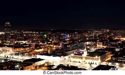 Night city view from the roof timelapse. Night city timelapse. City night from the view point on top timelapse.