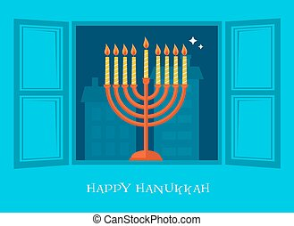 night city view of open window with Hanukkah menorah - night...