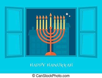 night city view of open window with Hanukkah menorah - night...