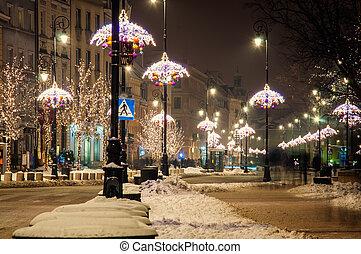 Warsaw - night city, Warsaw, Poland.