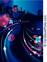 Night city with blurred lights bokeh texture vector illustration. Effect vector beautiful background. Blur colorful dark background with cityscape, buildings silhouettes skyline.