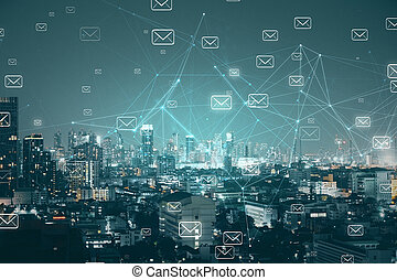 Night city with emails background