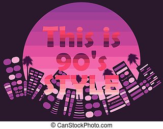 Night city with neon in the style of the 90s. Vector illustration.