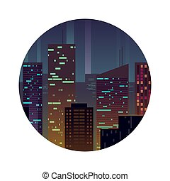 Night city with shining buildings