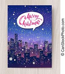 Night cityscape Christmas postcard design
