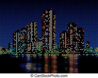 Night cityscape - Modern skyscraper night cityscape made of...
