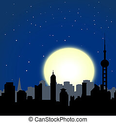 night cityscape - city buildings silhouettes on moon and...