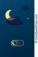 Night cityscape illustration On Off toggle switch button
