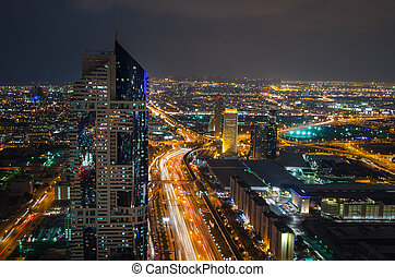 Night cityscape of Dubai, United Arab Emirates