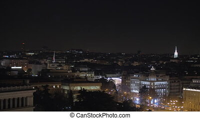 Night cityscape of Madrid, Spain - Panning shot of night...