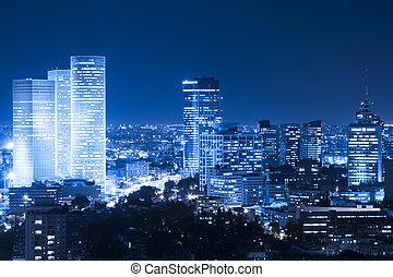 Night Cityscape - Tel Aviv Skyline at night