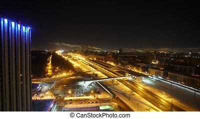 Night cityscape timelapse
