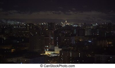 Night cityscape top view at winter