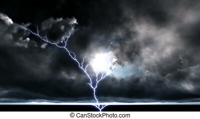 Night cityscape with strong lightning - Night cityscape with...