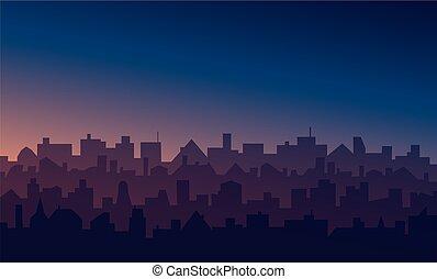 Night cityscape with sunrise or sunset background
