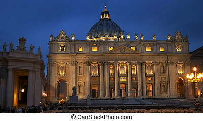 night close up of the outside of saint peter's basilica, rome