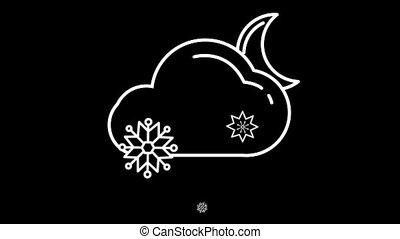 Night Cloud with Snow weather forecast line icon on the...