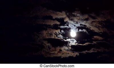 Night cloudy sky with full moon on a cloudy night