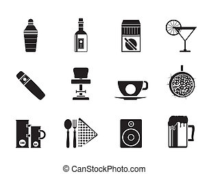 Night club, bar and drink icons