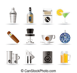 Night club, bar and drink icons - vector icon set