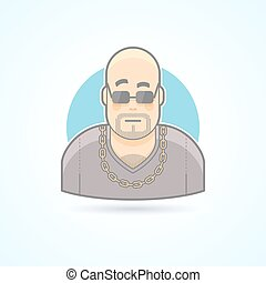 Night club bouncer, security chief, bodyguard icon. Avatar and person illustration. Flat colored outlined style.