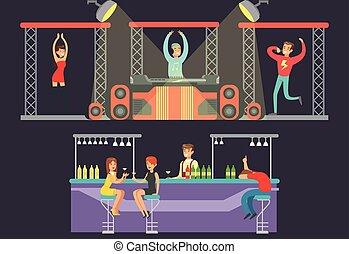Night club dance, party in the nightclub, dj playing music, showgirl dancing, male singer singing, men and women drinking alcohol drinks in a bar vector Illustration