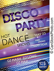 Night club disco party poster