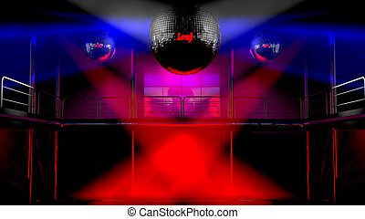 Night club discotheque colorful lights - Night club interior...