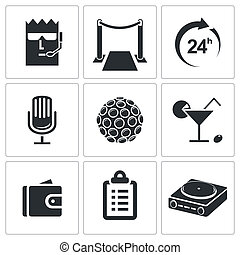 Night Club icon collection - Night Club icons set on a white...