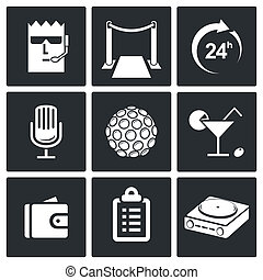 Night Club Icons set - Night Club icon collection on a black...