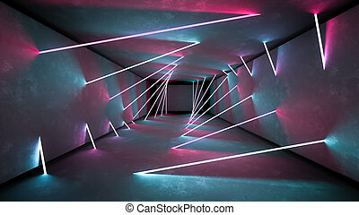 Night club interior lights 3d render for laser show. Glowing lines. Abstract fluorescent background. Neon room corridor background. Light abstract futuristic design. Modern geometric glow interior. Perspective bright electric lamp wallpaper. Wall illumination technology tunnel with matte reflection. Led lights backdrop. 3d rendering in vibrant colors. Concrete architecture 80s retro background. Retro interrior template.