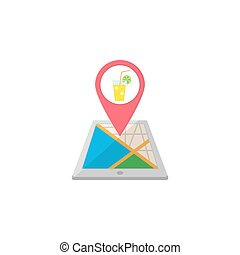 Night club map pointer flat icon, mobile gps