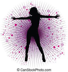 night-club, niña, vector, bailando
