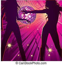 night-club, niñas, dos, bailando